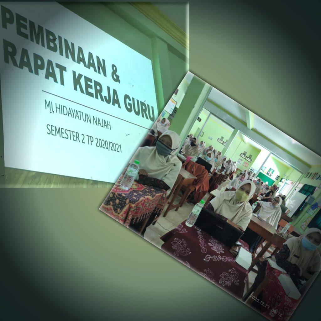 Segenap guru dan karyawan Mi Hidayatun Najah gelar rapat kerja ,( Rabu – kamis, 23 – 24 /12/2020).